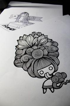手 绘 素 材 。、手绘、插画、设计、素材、图、装饰画、黑白画、手、绘、素、材、妖娆