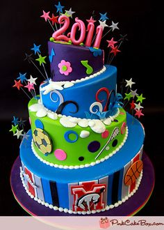 love the bright colors, stars, and topsy turvy...also the way the numbers are done...not a fan of things on cake