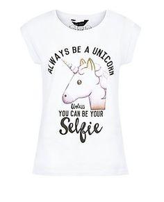 White Unicorn Emoji Roll Sleeve T-Shirt  | New Look