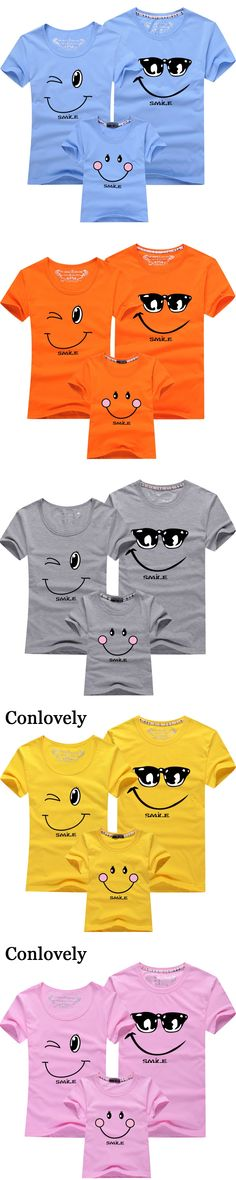 Family T-Shirt Summer Smiling Face Mother Daughter T Shirt New Cotton Family Sets Short Sleeves Outfits Family Matching Clothes