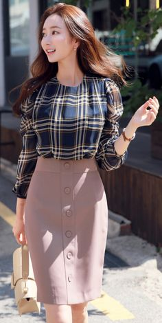 Ideal And Almost Perfect Classy Work Outfits - Work Outfits Women Mode Outfits, Office Outfits, Skirt Outfits, Ladies Outfits, Work Fashion, Hijab Fashion, Fashion Dresses, Women's Fashion, Korean Fashion