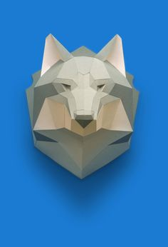 Free template for making wolf head from paper https://polygonalpaper.com/en/models/wolf_f-2/