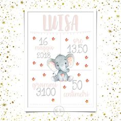 Quadretto nascita digitale da stampare   Etsy Abc Poster, Kids Poster, Birth Pictures, Print Pictures, Baby Milestone Cards, Baby Cards, Kids Watercolor, Girl Posters, Birth Announcement Boy