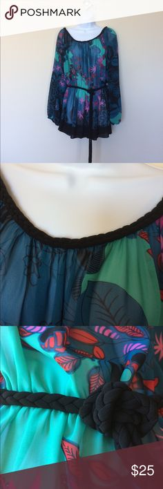 """Bisou Bisou multi colored tunic Pretty black/blue/turquoise tunic with shots of pink and red.  Adorable braided neckline and belt.  Gently blousons at the elasticized waist with slits at side.  Length from waist to hem is 12"""". Bisou Bisou Tops Tunics"""