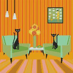 Modern Cross Stitch Kit By Kerry Beary 'Swirly Girls' - Cat Cross Stitch