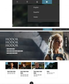 So, the HBO GoT Website is now available in English, Spanish and Hodor. | BAHAHAHA! #game #of #thrones #tv show #books #got #characters #funny | via 9gag