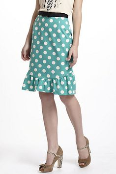 A polka-dotted thing of the past...would look great with my clothes collection! :)    Dotty Trumpet Skirt #anthropologie