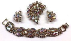 Vintage Juliana AB Rhinestone Bracelet Brooch Earrings Set  #Juliana
