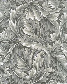 KBWLLMGY Grand Acanthus Leaves Soft Gray Fabric