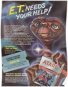 The video game of ET has been blamed for destroying the tech company, Atari. Here the programmer, Howard Scott Warshaw, gives his personal account of the fiasco. Video Vintage, Vintage Video Games, Classic Video Games, Retro Video Games, Vintage Games, Video Game Art, Vintage Toys, True Detective, Game Boy
