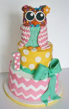Owl birthday cake... Love the chevron and polka dots!