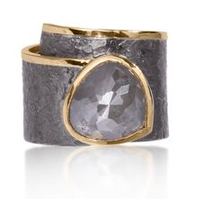 Elizabeth Garvin - Cyclone Ring in Oxidized Sterling Silver & 18k Gold with a Faceted Gray Diamond
