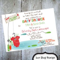 FISHING Baby Shower or Sprinkle Invite Printable by luvbugdesign, $14.00