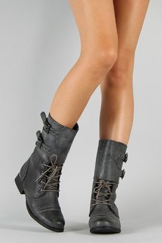 Amazon.com: Diva Lounge Jetta-07 Buckle Round Toe Military Vegan Boot: Shoes