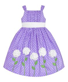Another great find on #zulily! Lilac & White Polka Dot Flower Dress - Toddler & Girls by American Princess #zulilyfinds