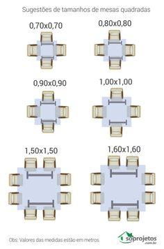 Sugestões de tamanhos de mesas quadradas