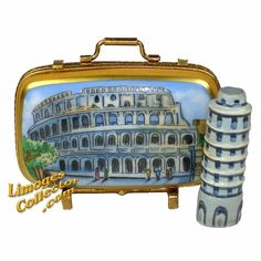 Rome Travel Suitcase Colisieum Tower of Pisa Limoges Box by Beauchamp Limoges. A fantastic selection of Travel collectible Limoges boxes and gifts imported directly from Limoges, France. LimogesCollector.com