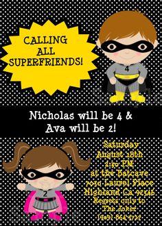 Superhero Birthday Invitation Boy Girl Printable Superhero Birthday Party Invitation