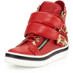 Giuseppe Zanotti Calf Leather High-Top Sneaker ($1,350) ❤ liked on Polyvore featuring shoes, sneakers, red, giuseppe zanotti sneakers, high top sneakers, hi tops, red platform shoes and lace up shoes