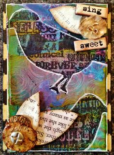 Sing Sweet ATC, Mixed Media, Artist Trading Cards, Altered Art, bird, stamp, book paper, leaves, ink sprays