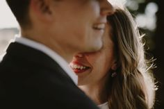 Such a cute shot of the bride and groom! I like how you see their smiles