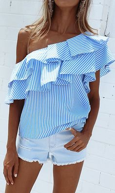 Blue and white, stripes, ruffles and off the shoulder....everything I love!