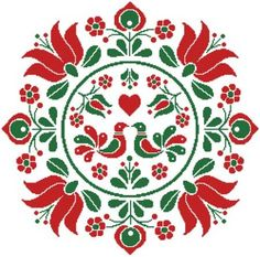 This counted cross stitch pattern of an easy to stitch Hungarian Folk Art Design was created from an image copyright of Sanyo. Hungarian Embroidery, Folk Embroidery, Learn Embroidery, Simple Embroidery, Ribbon Embroidery, Indian Embroidery, Modern Embroidery, Chain Stitch Embroidery, Embroidery Stitches
