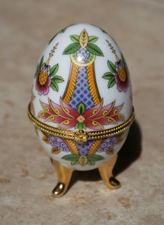 Easter Vintage Porcelain Egg Trinket Box Hinged Top by DanneShaeBoutique, $10.00