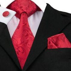 Noble Classic Red Tie Flower Hanky Cufflinks Sets Men's Silk Ties for men Formal Wedding Party Freeshipping Motif Floral, Floral Stripe, Groom Ties, Paisley Tie, Paisley Color, Paisley Pattern, Cufflink Set, Mens Silk Ties, Tie And Pocket Square