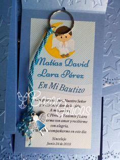 Tarjeta de agradecimiento mas llavero para Bautizo Facebook Sign Up, Thank You Cards, Key Rings, Invitations