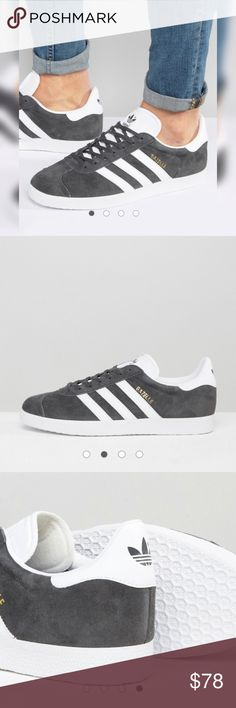 Adidas 💥Gazelle💥sneakers in gray💥 Adidas💥Gazelle💥Size 8.5💥Sneakers by adidas Originals Supplier code: BB5480 Suede upper Lace-up fastening Signature three stripes adidas Originals logo to cuff and tongue Contrast sole Moulded tread Treat with a leather protector 50% Real Leather, 50% Other Materials Upper adidas Shoes Sneakers