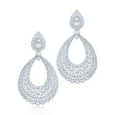 Diamond drop earrings in 18k white gold. Kwiat Vintage Earrings | style # 28351 | Kwiat