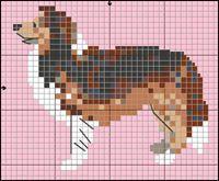 Billedresultat for knit chart rough collie Mini Cross Stitch, Cross Stitch Charts, Cross Stitch Patterns, Rough Collie, Dog Crafts, Shetland Sheepdog, Dog Pattern, Beaded Animals, Sheltie