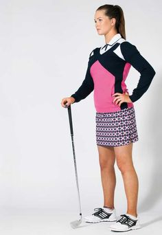 Favourite golf clothing brand? Adidas! I like the styling and it's trendy. Annabel Dimmock in Mix Polo, £39.99, Mix Jumper, £49.99, Mosaic Skort, £64.99, both Nivo