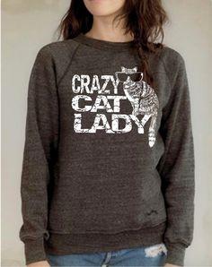 Cat Sweater Crazy Cat Lady Cat print sweatshirt womens by RCTees