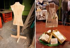 Lots of tips for displays. This pic shows a simple floor stand for a display- plywood + jigsaw and parts + nails Craft Booth Displays, Store Displays, Display Ideas, Booth Ideas, Hat Display, Clothing Displays, Clothing Booth Display, Craft Stalls, Ideias Diy