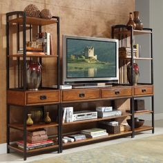 Home Styles Modern Crafts 3 Piece Gaming Entertainment Center - Oak Finish - TV Stands at Hayneedle