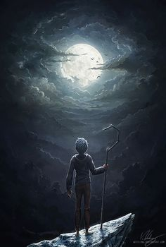 The Art Of Animation...JUMP TO THE MOON, black white photography, boy looking up at moon  standing on mountain ledge with rod staff,   by Isabel Westling,  From   http The Art Of Animation tumblr    March 2015 http://theartofanimation.tumblr.com/post/111988340828/isabel-westling