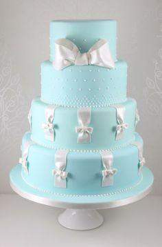 Blue w/ White Bows Cake