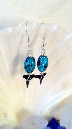 Turquoise and black glass beaded shark tooth earrings, shark teeth earrings