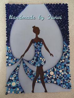 Silhouette of a Lady Wearing a Gorgeous Blue Quilled Dress