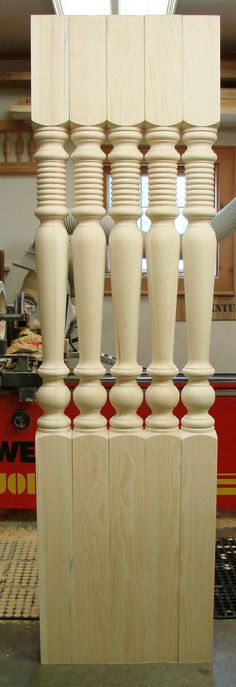 Our Old Market porch post pattern. Wood Furniture Legs, Funky Furniture, Wood Turning Projects, Wood Projects, Wood Spice Rack, Showroom Interior Design, Wood Steps, Porch Posts, Wood Staircase