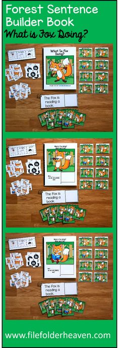 "This Fox Sentence Builder Book, ""What Is Fox Doing?"" focuses on identifying action words, building sentences, and sentence comprehension. In a small group, the teacher or therapist reads the story as students follow along and match the correct action to each page. Sample Text: ""What is Fox doing? What can it be? He's.... __________ (playing the flute) as we can plainly see"""