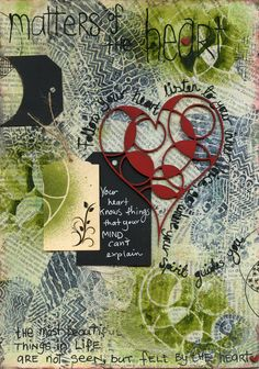 """Matters of the Heart"" featuring Scrap FX products:  Funky Heart, flourish tags. www.scrapfx.com.au"