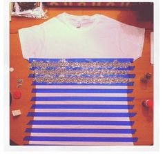 Get a cheap t-shirt, tape, and glitter for this awesome project!!