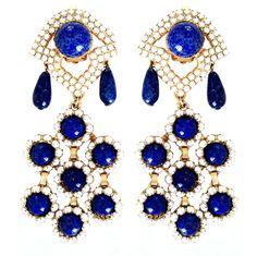 """""""WILLIAM DELILLO Drops 1970s"""". Nice lapis lazuli drops and cabochons!"""