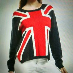 """Love UK Sweater Moon Collection soft. Sweater. UK flag with solid Navy back and sleeves with red/white/blue front. Very light weight.  Pit to pit 22"""" Length neck to hem 22 1/2  Pictures authorized by Moon Collection  Smoke free/pet friendly home Moon Collection Sweaters Crew & Scoop Necks"""