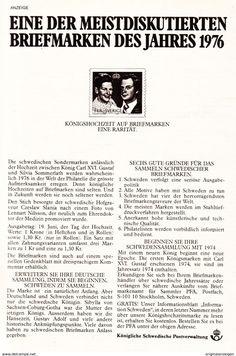 Werbung - Original-Werbung/Anzeige 1976 - BRIEFMARKE HOCHZEIT SILVIA SOMMERLATH & CARL GUSTAV VON SCHWEDEN - ca. 120 x 190 mm