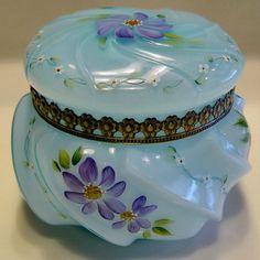 Fenton Blue Wavecrest Style Dresser Jar