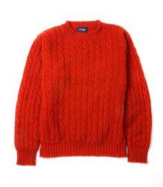 Orange Brushed Shetland Cable Knit Lambswool Crew Neck Jumper